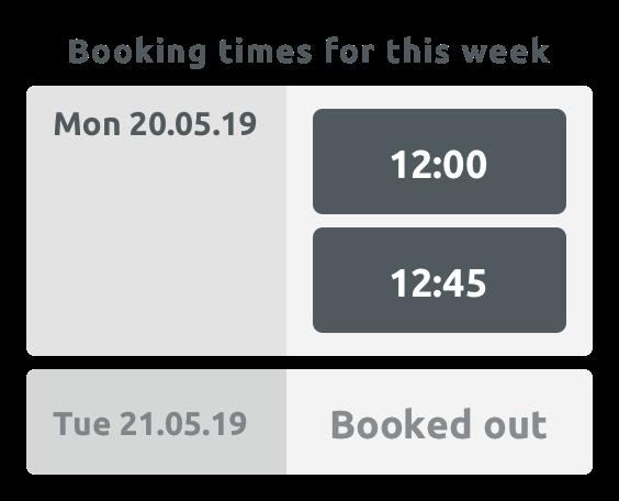 Vista settimanale per il cliente in widget