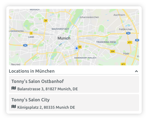Location Selector (Booking Widget)