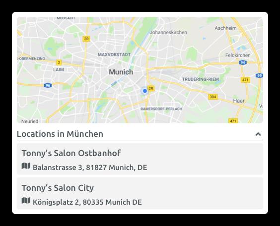 Localisation d'une succursale (Widget de réservation)
