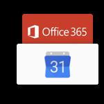 sincronización con el calendario de Google y Microsoft 365