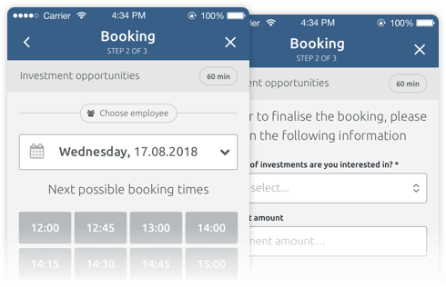 Mobile optimised booking