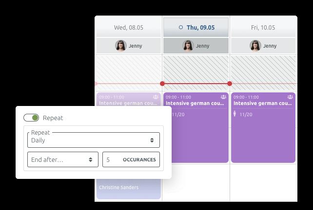 Herhaal groepsevenementen in uw kalender