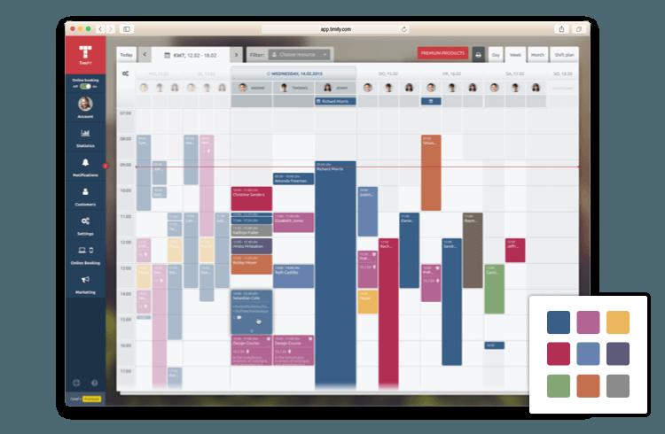 organización de calendario por colores