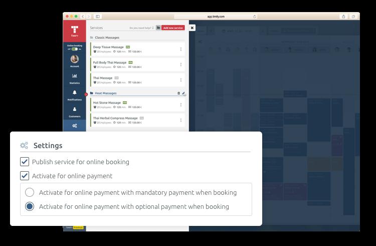 Online payment für Terminbuchung