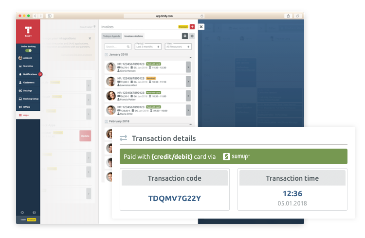automatic invoicing online payment timify