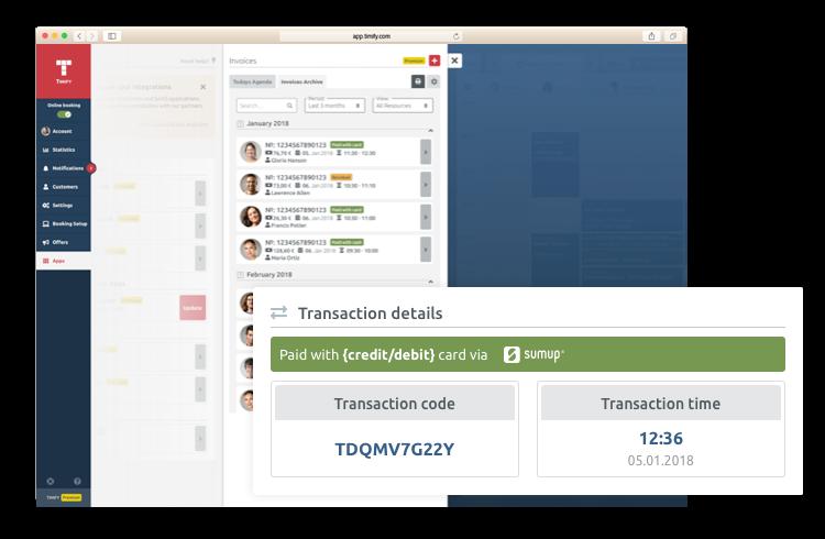 Paiement en ligne et facture automatique timify