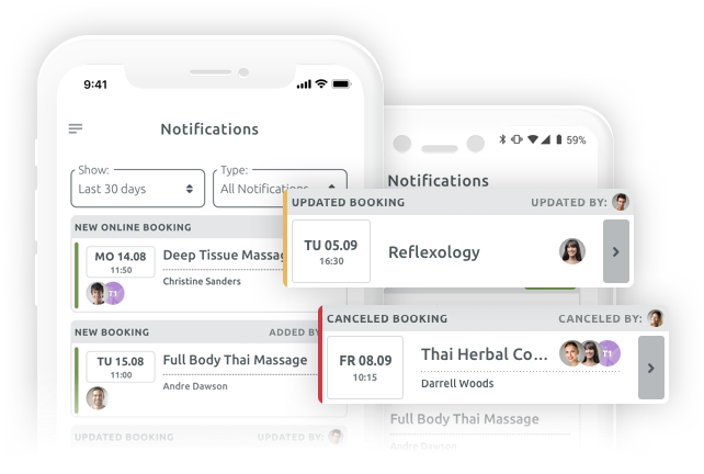 Get notified when a customer books or cancels an appointment