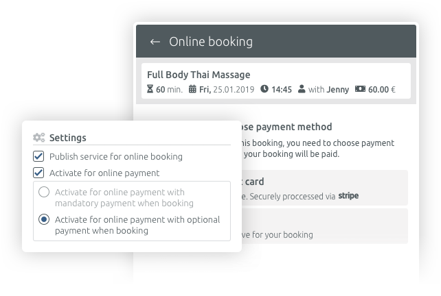 Online payment for appointment bookings