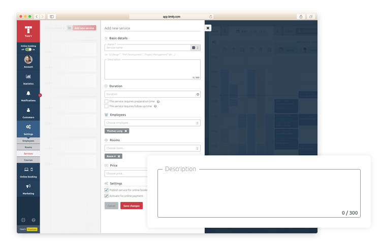 edit services with the calendar timify