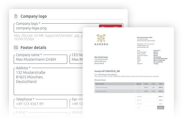 fully customised invoices