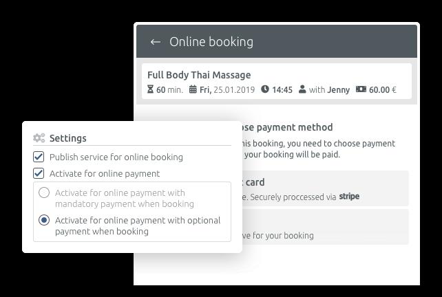 payé en ligne des réservations