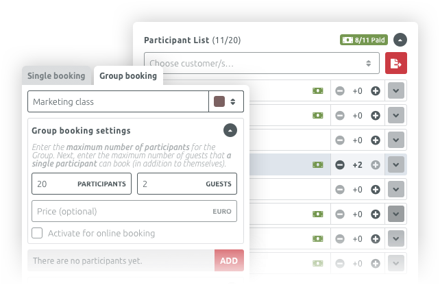 Manage your participant list and edit the group event