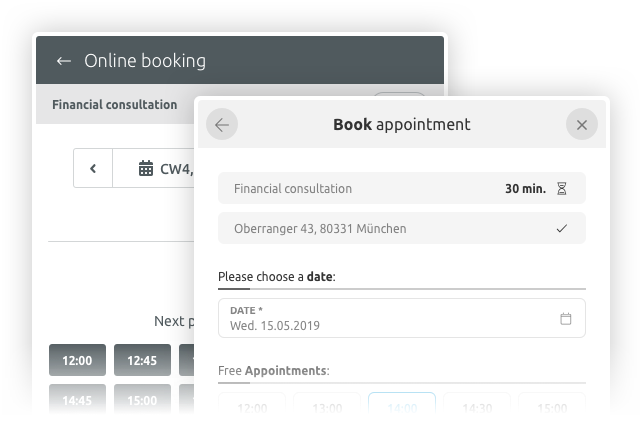 customisable booking widget