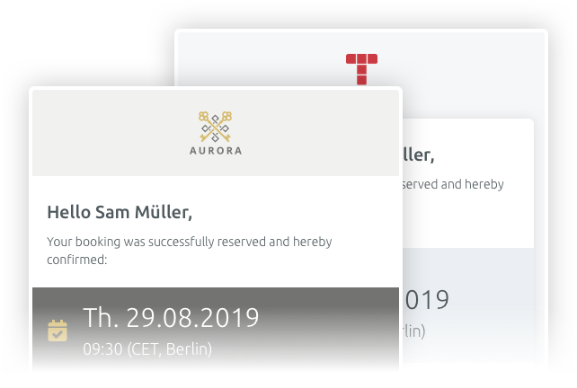 customisable booking confirmation emails
