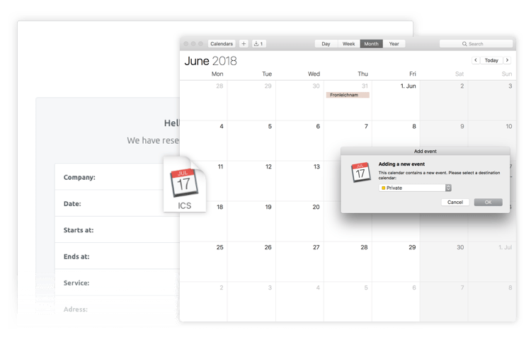 Exportieren Sie Buchungen in Ihren privaten Kalender