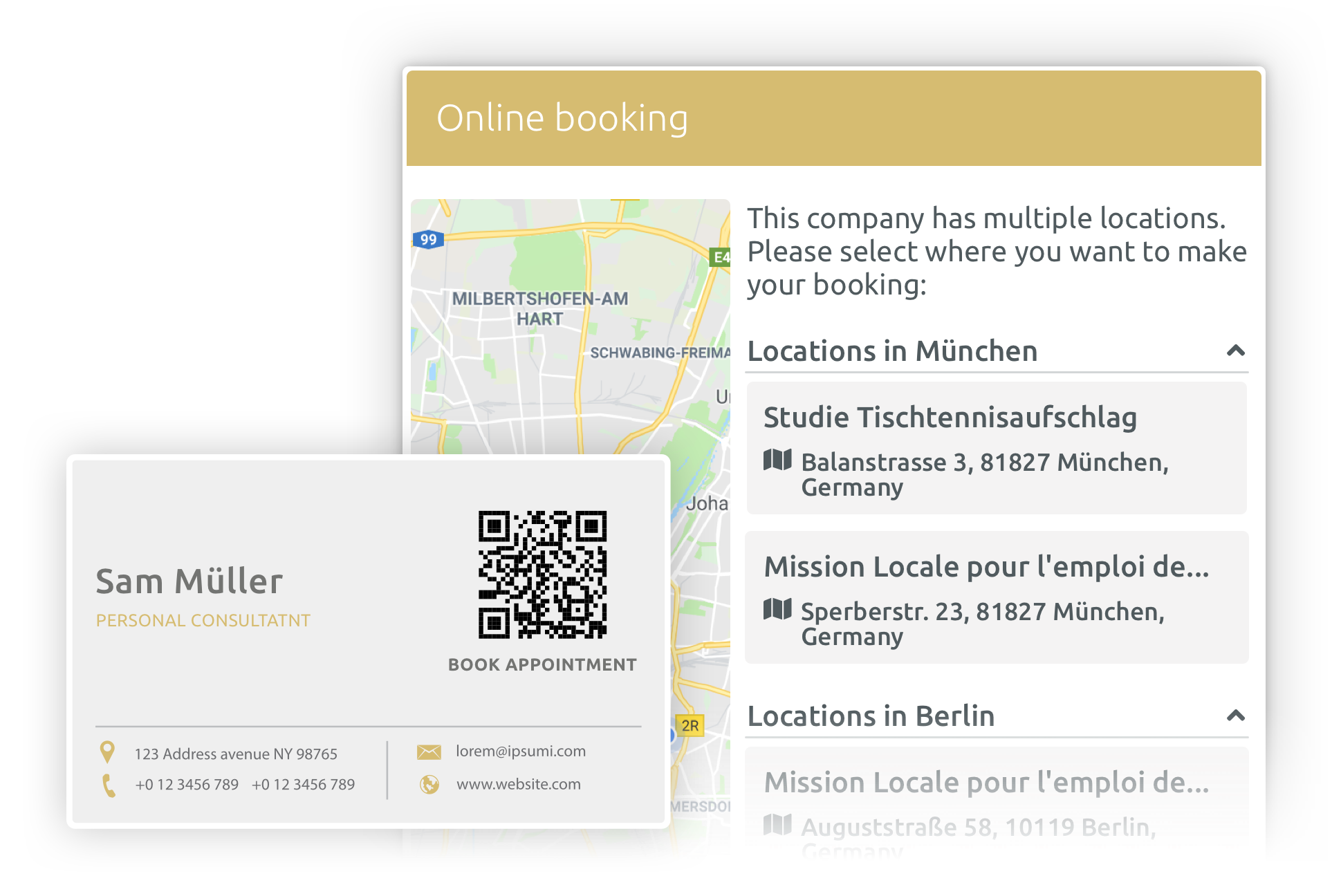 Appointment Booking location and QR code