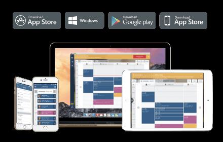 Terminverwaltung über Tablet- Mobile- und Desktop-Apps