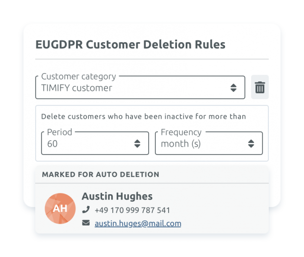 Automated customer deletion rules