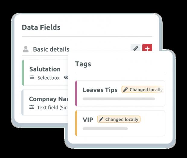 Gestión global de etiquetas y campos de datos