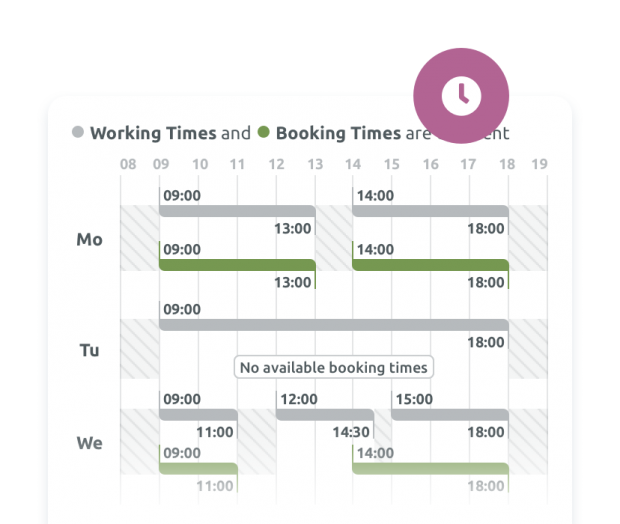 Working & booking times