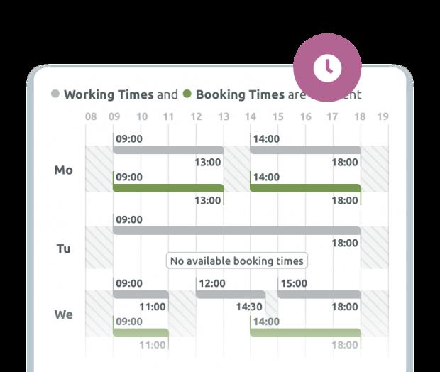 Horarios de trabajo y reserva