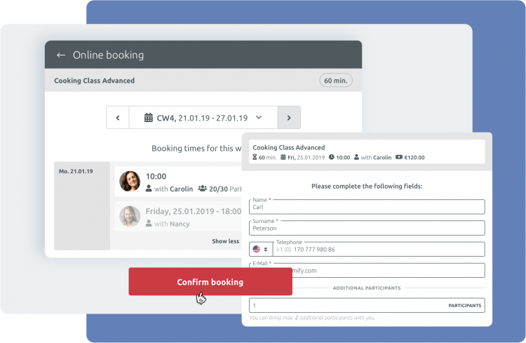 customer booking process timify